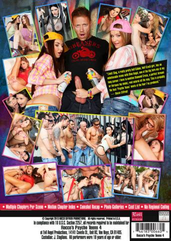 Rocco's Psycho Teens 4 from Evil Angel: Rocco Siffredi back cover