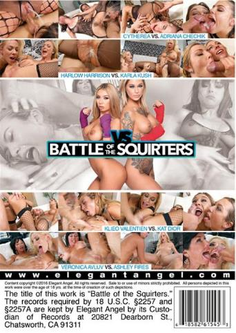 Battle Of The Squirters from Elegant Angel back cover